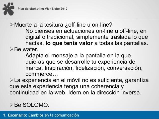 Plan de Marketing VisitElche 2012   !!Muerte a la tesitura ¿off-line u on-line?         No pienses en actuaciones on-line ...