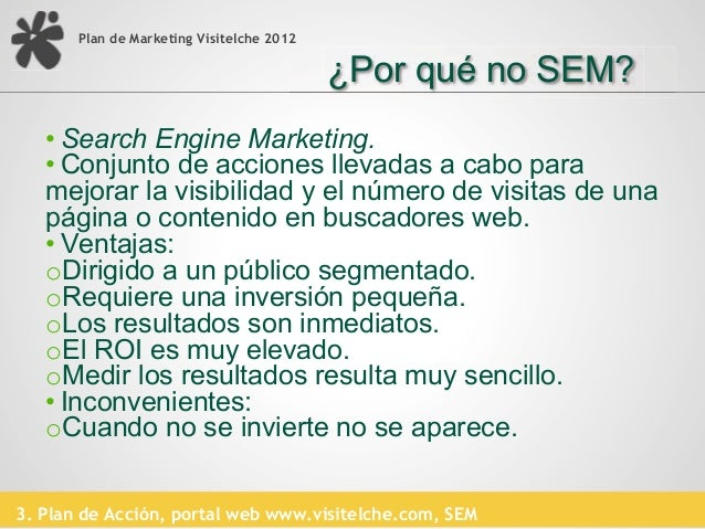 Plan de Marketing Visitelche 2012                                           ¿Por qué no SEM?                BÚSQUEDA      ...
