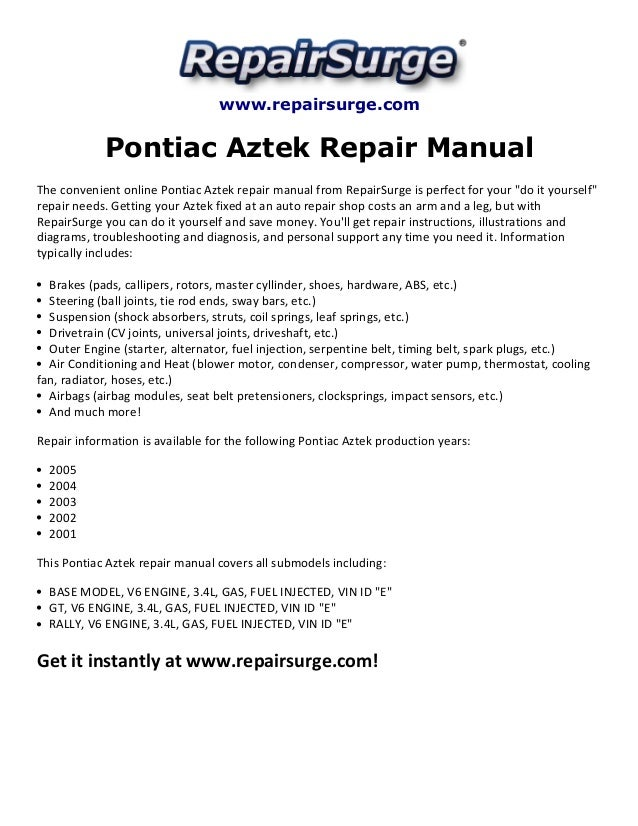 pontiac aztek repair manual 2001 2005 rh slideshare net Aztec Warrior 2003 Pontiac 3 4