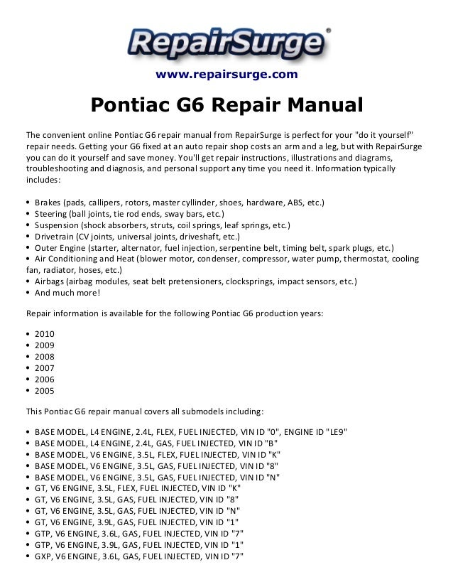 pontiac g6 repair manual 2005 2010 rh slideshare net 2009 pontiac g6 service manual free 2009 pontiac g6 owners manual