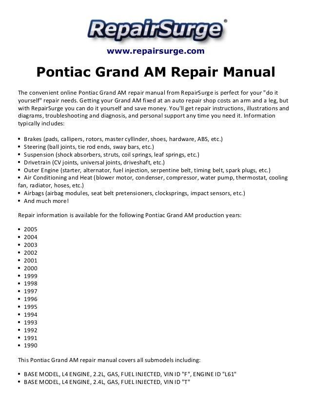 Pontiac Grand Am Repair Manual 1990 2005rhslideshare: 2000 Pontiac Grand Am Engine Diagram At Gmaili.net