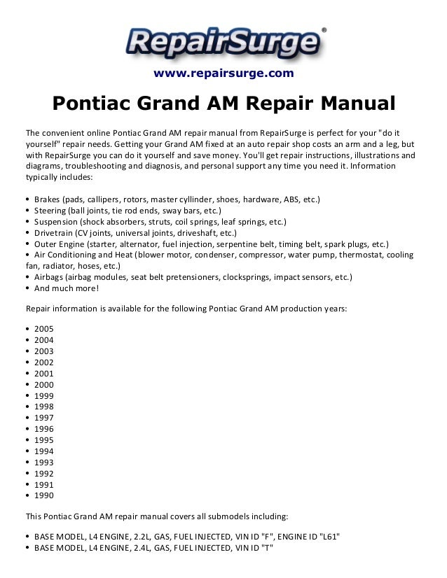 pontiac grand am repair manual 1990 2005 rh slideshare net 96 Grand AM Engine Diagram Pontiac Grand AM Parts Diagram