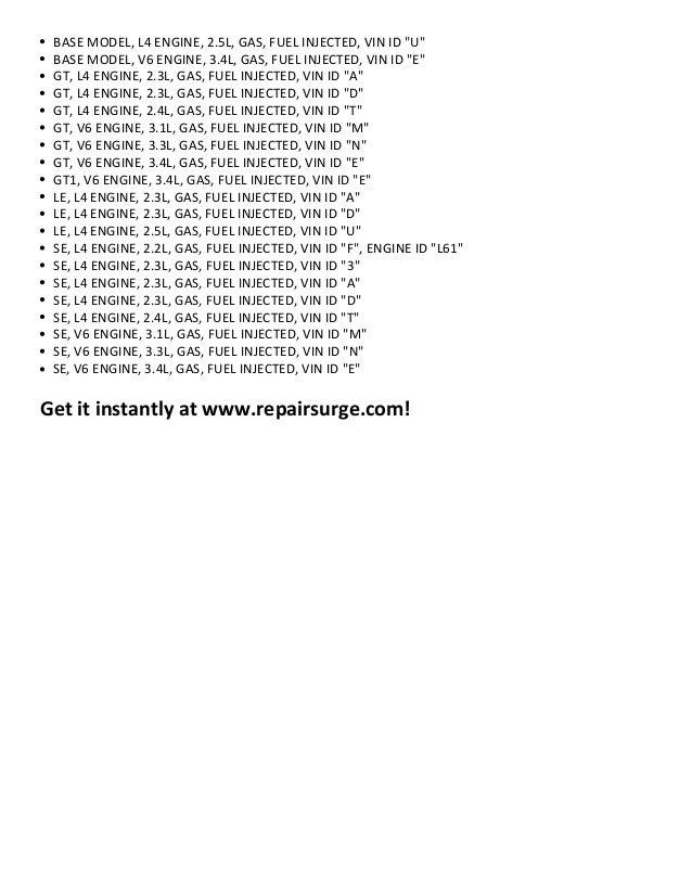 pontiac grand am repair manual 1990 2005 rh slideshare net 2002 pontiac grand am service manual pdf 1999 Pontiac Grand AM