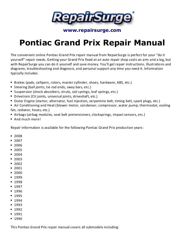 pontiac grand prix repair manual 1990 2008 rh slideshare net 2004 pontiac grand prix service manual 2004 pontiac montana service manual pdf