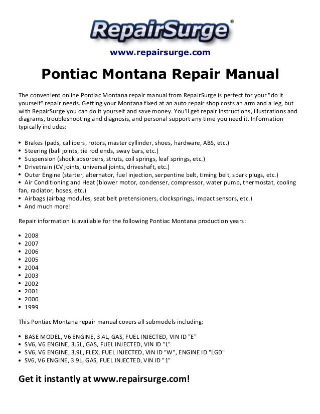 Pontiac Montana Repair Manual 1999 2008. Repairsurge Pontiac Montana Repair Manual The Convenient Online. Pontiac. 2004 Pontiac Montana Sensor Diagram At Scoala.co
