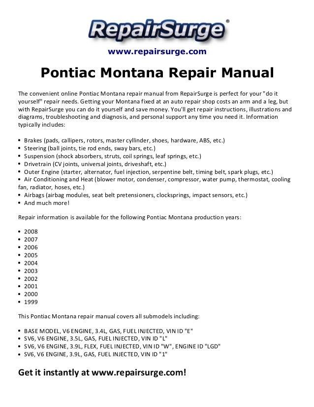2000 pontiac montana engine diagram belt pontiac montana repair manual 1999 2008  pontiac montana repair manual 1999 2008