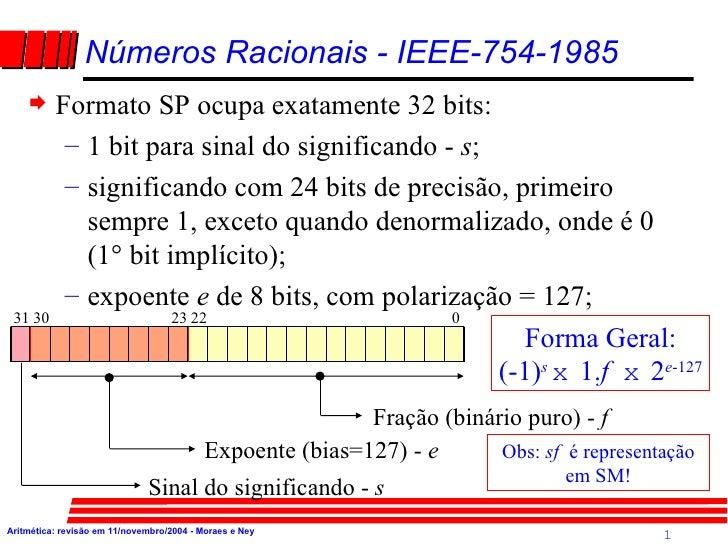 <ul><li>Formato SP ocupa exatamente 32 bits: </li></ul><ul><ul><li>1 bit para sinal do significando -  s ; </li></ul></ul>...