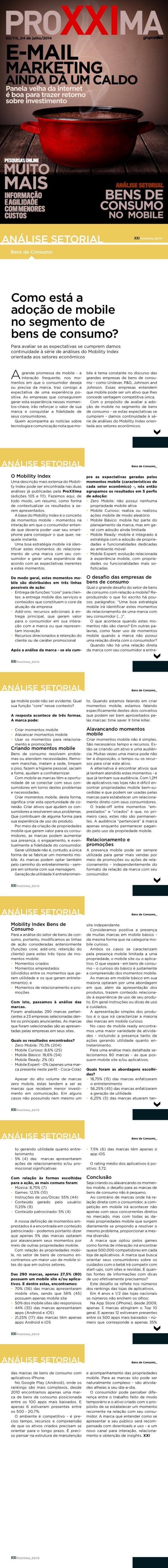 ProXXima - Matéria sobre o Mobility Index CPG 2014 da Pontomobi