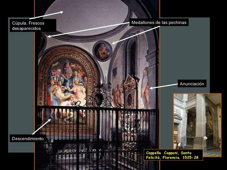 Medallones de las pechinas Anunciación Descendimiento Cúpula. Frescos desaparecidos Cappella  Capponi, Santa Felicità, Flo...