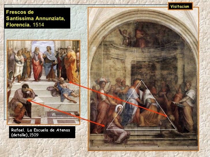 Frescos de  Santissima Annunziata, Florencia.  1514   Visitacion   Rafael. La Escuela de Atenas  (detalle), 1509