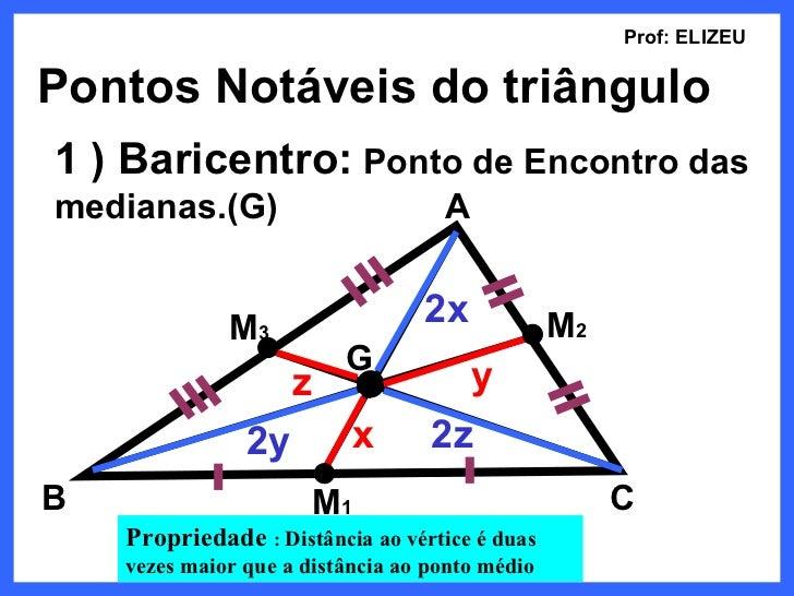 Prof: ELIZEUPontos Notáveis do triângulo1 ) Baricentro: Ponto de Encontro dasmedianas.(G)                        A        ...