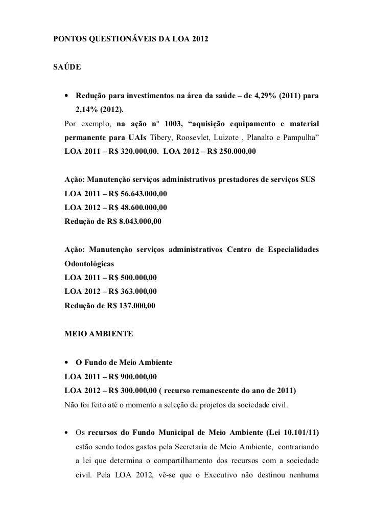 Pontos Questionáveis da LOA 2012 - UBERLÂNDIA