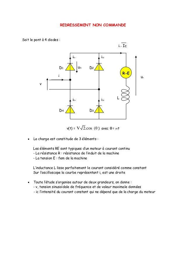 REDRESSEMENT NON COMMANDESoit le pont à 4 diodes :                                                              ic = Ic   ...