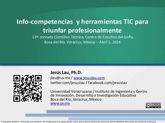 Info-competencias y herramientas TIC para triunfar profesionalmente 12ª. Jornada Científico Técnica, Centro de Estudios de...