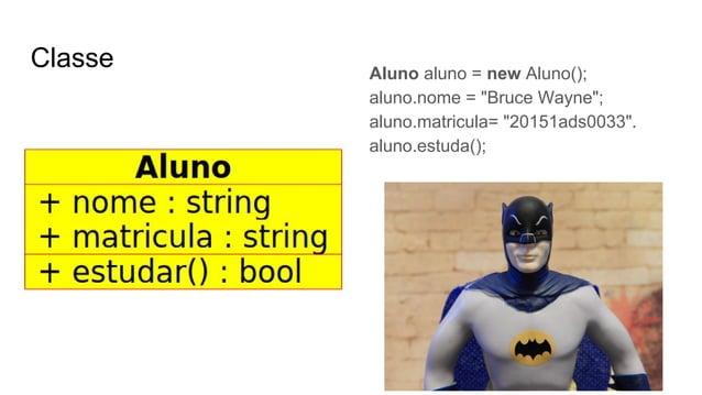 """Classe Aluno aluno = new Aluno(); aluno.nome = """"Bruce Wayne""""; aluno.matricula= """"20151ads0033"""". aluno.estuda();"""