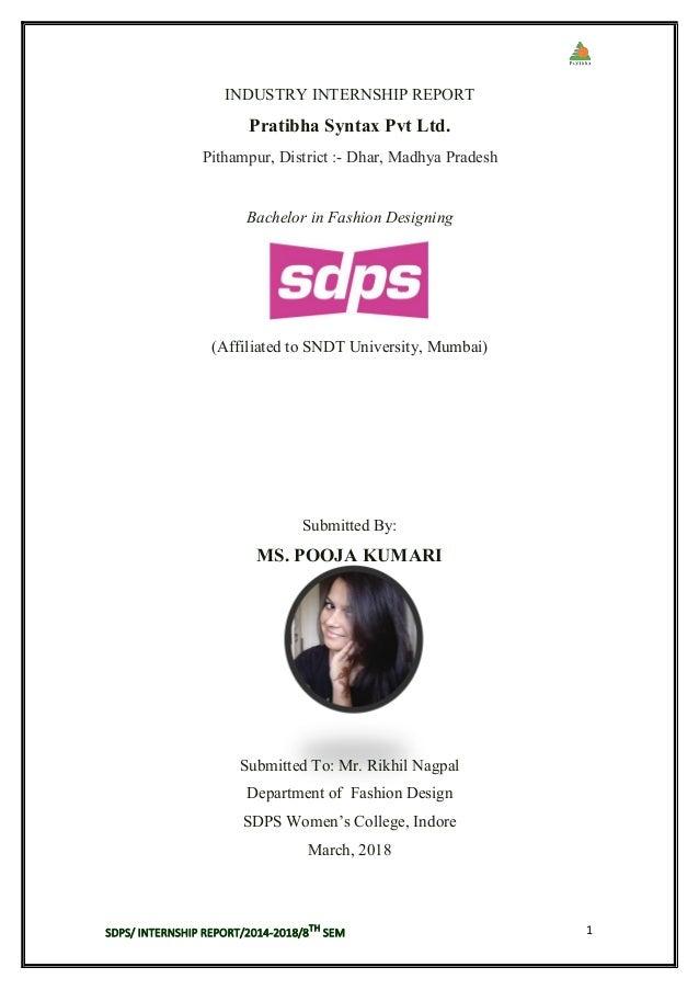 Pratibha Syntex Pvt Ltd Internship Report By Pooja