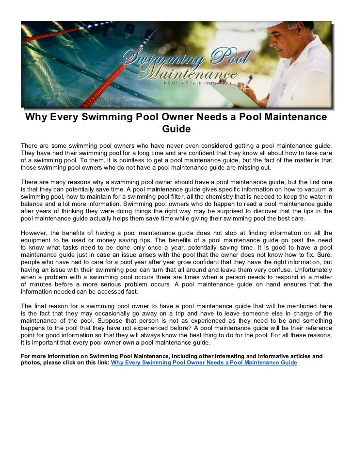 Why Every Swimming Pool Owner Needs a Pool Maintenance ...