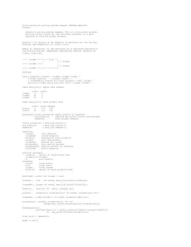 Pooling Optimization Problem
