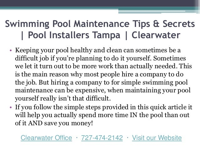 ... 2. Swimming Pool Maintenance Tips & Secrets | Pool Installers Tampa ...