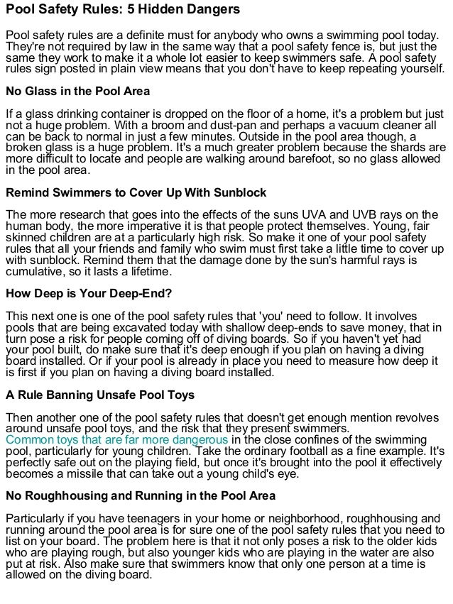 Pool Safety Rules 5 Hidden Dangers