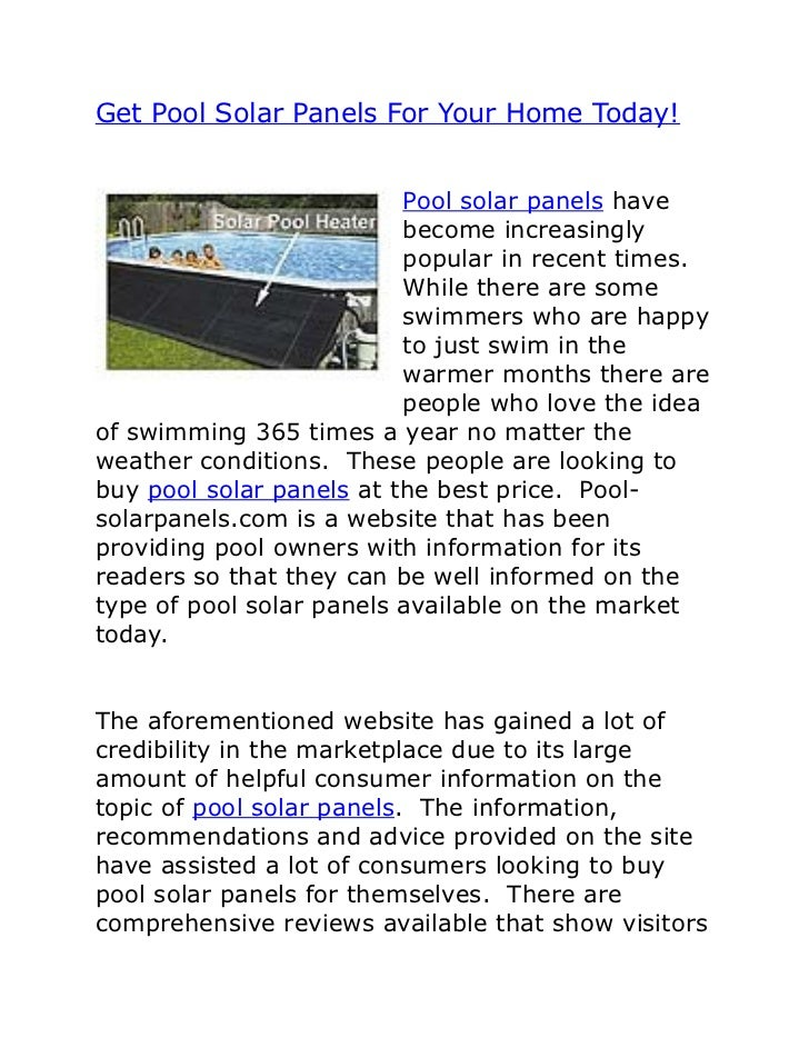 Get Pool Solar Panels For Your Home Today!                          Pool solar panels have                          become...