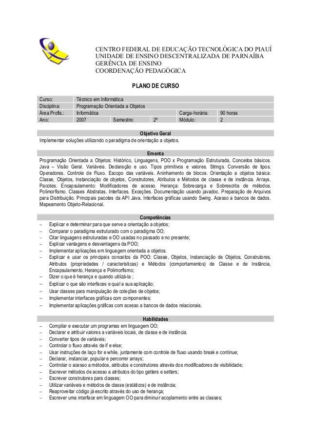 CENTRO FEDERAL DE EDUCAÇÃO TECNOLÓGICA DO PIAUÍ UNIDADE DE ENSINO DESCENTRALIZADA DE PARNAÍBA GERÊNCIA DE ENSINO COORDENAÇ...