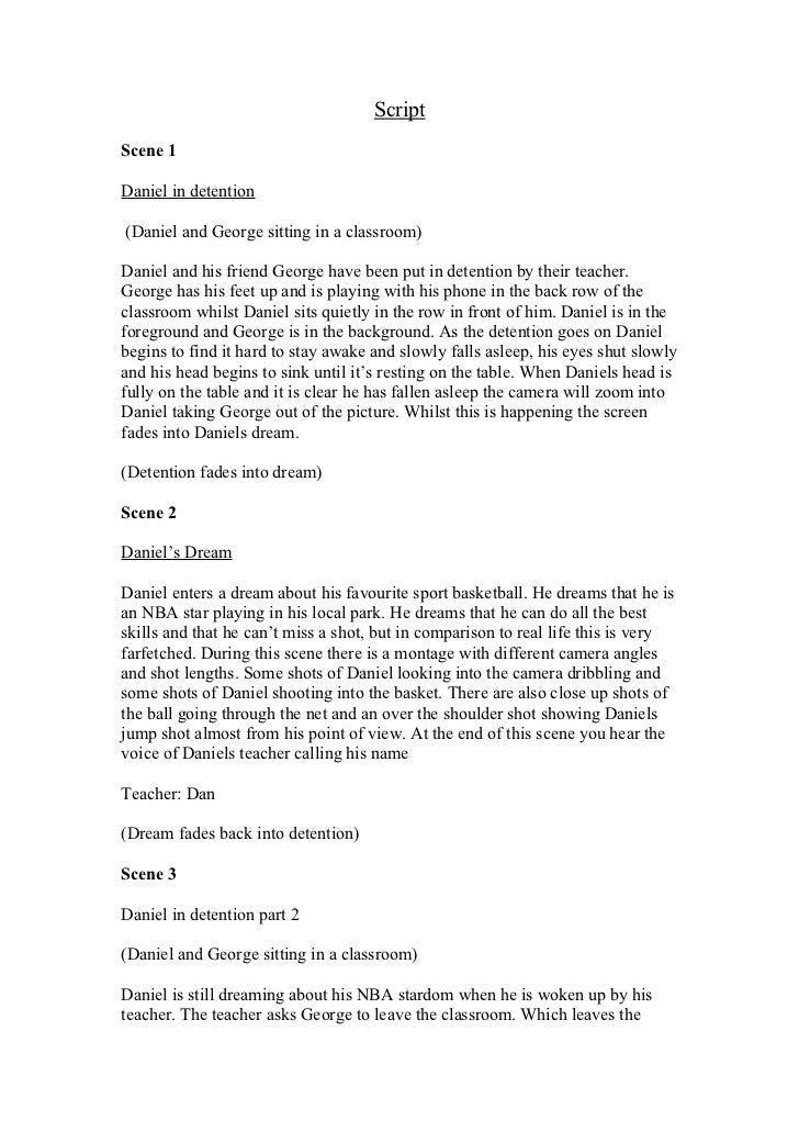 ScriptScene 1Daniel in detention(Daniel and George sitting in a classroom)Daniel and his friend George have been put in de...