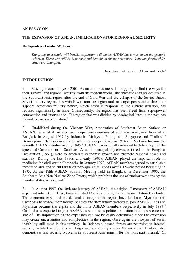 an essay on the expansion of asean implications for regional secur  an essay on the expansion of asean implications for regional security by squadron leader w