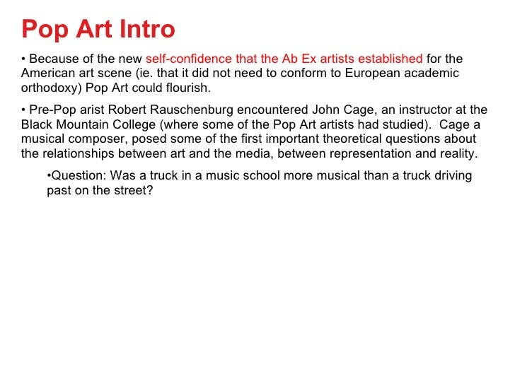 pop art introduction essay Acw 1 pop art movement the art movement i have chosen to study is pop art, before i decided on the movement of my.