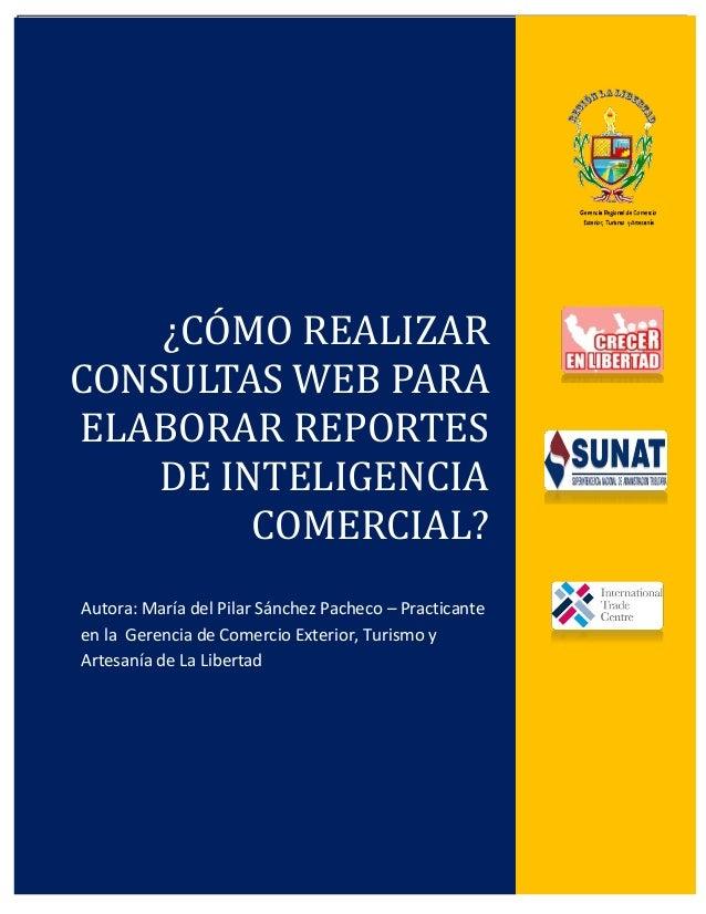 ¿Cómo realizar consultas web para elaborar reportes de inteligencia comercial? 2013Página 0A u t o r a : M a r í a d e P i...