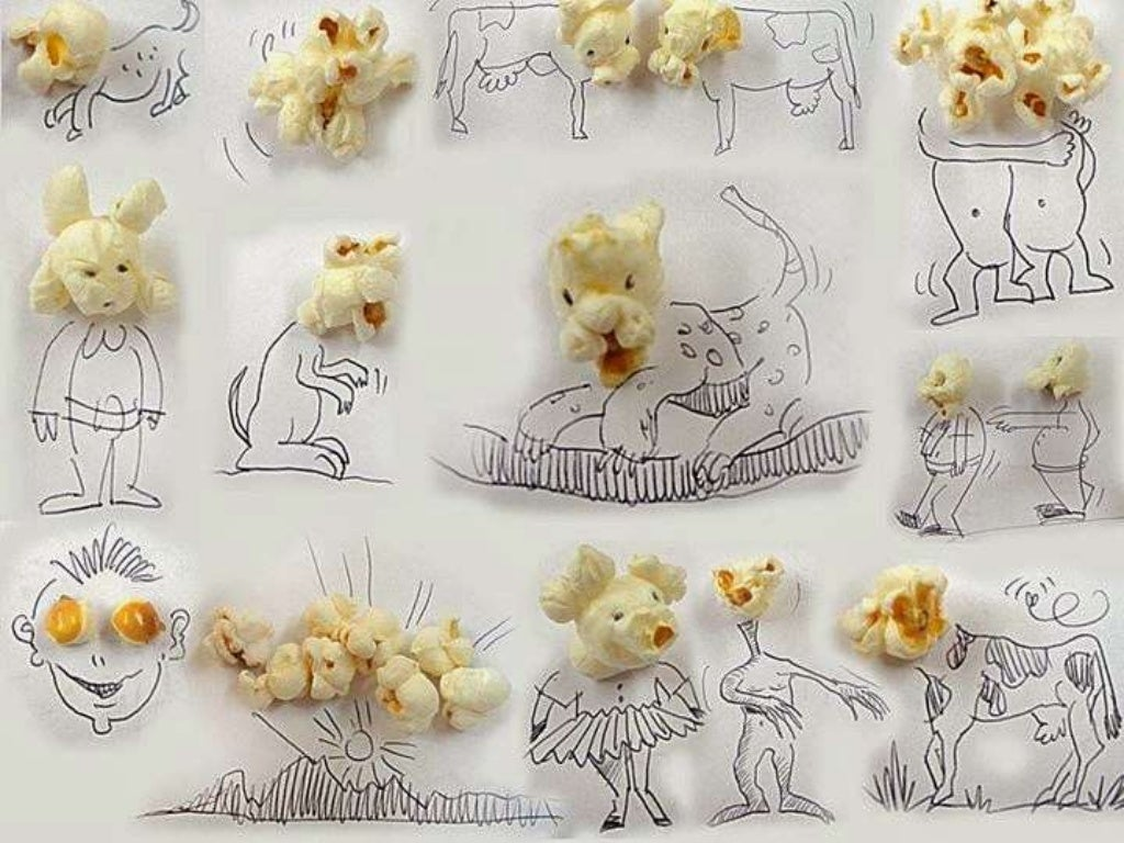Popcorn faces (A bite of food)
