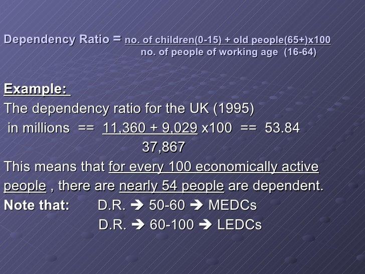 the dependency ratios in medcs and ledcs essay Both medcs and ledcs have a large dependency ratio this is due to in the lecds because of the high birth rate and lower infant mortality in the medcs there is a high dependency ratio this is because.