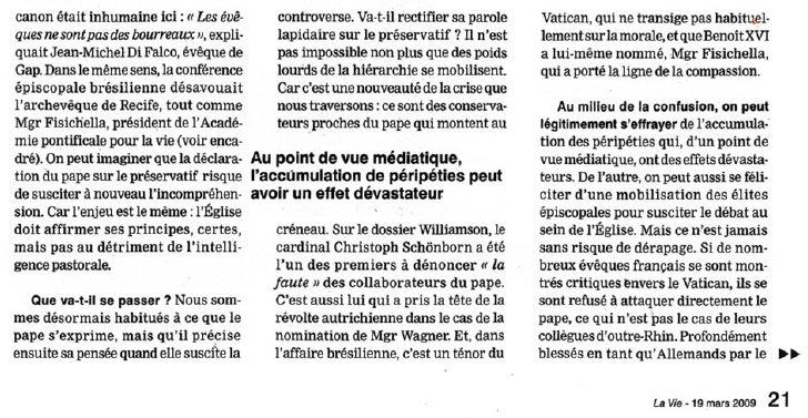De : Jacques Bancal <jbancal@wanadoo.fr> Objet : Rép : La Belgique condamne les propos du Pape... Date : 9 avril 2009 09:0...
