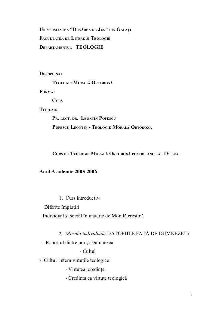 """UNIVERSITATEA """"DUNĂREA DE JOS"""" DIN GALAŢIFACULTATEA DE LITERE ŞI TEOLOGIEDEPARTAMENTUL TEOLOGIEDISCIPLINA:      TEOLOGIE M..."""