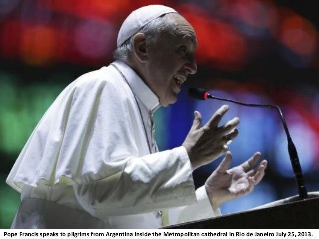 Pope Francis speaks to pilgrims from Argentina inside the Metropolitan cathedral in Rio de Janeiro July 25, 2013.