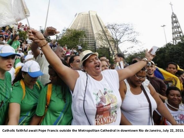 Catholic faithful await Pope Francis outside the Metropolitan Cathedral in downtown Rio de Janeiro, July 22, 2013.