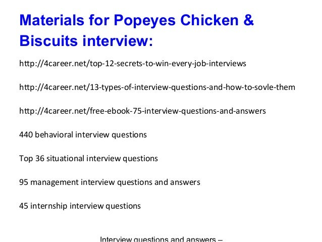 Popeyes Chicken Amp Biscuits Interview Questions And Answers