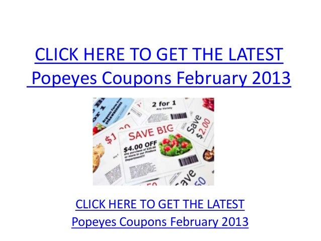 image regarding Popeyes Coupons Printable referred to as Popeyes Coupon codes February 2013 - Printable Popeyes Discount coupons