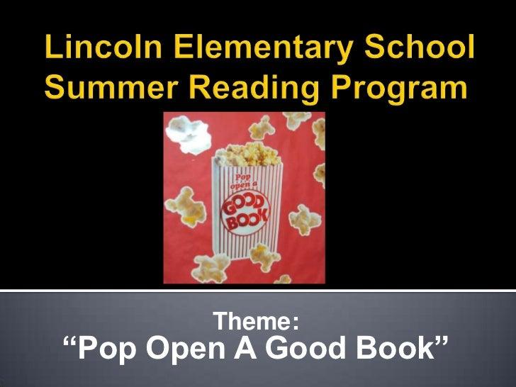 "Theme:""Pop Open A Good Book"""