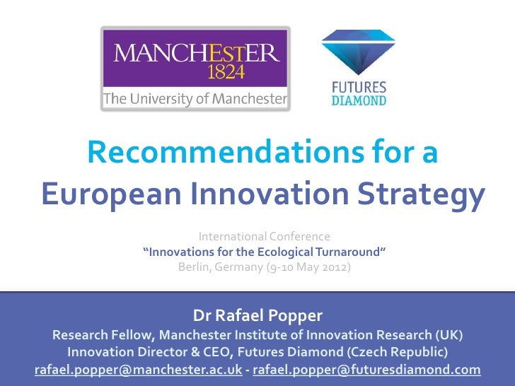 """Recommendations for aEuropean Innovation Strategy                          International Conference                """"Innova..."""