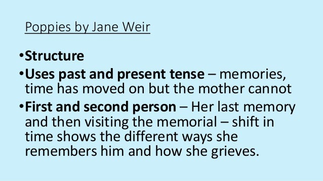 poppies poem jane weir analysis Gcse english literature poetry specification for first exam june 2015  'poppies',  jane weir 'no problem', benjamin zephaniah 'what were they like.