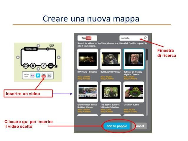 Creare una nuova mappa  Finestra di ricerca  Inserire un video  Cliccare qui per inserire il video scelto  10