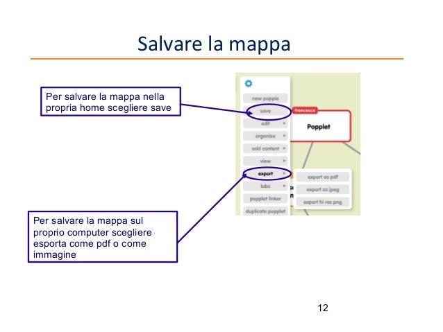 Salvare la mappa Per salvare la mappa nella propria home scegliere save  Per salvare la mappa sul proprio computer sceglie...