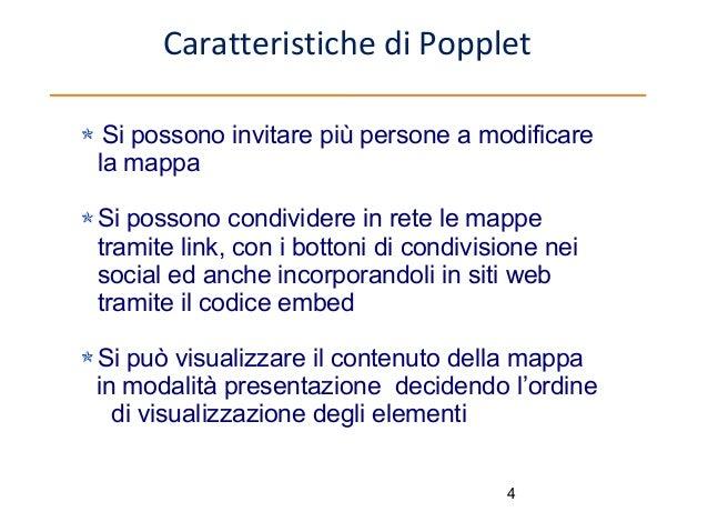Caratteristiche di Popplet Si possono invitare più persone a modificare la mappa Si possono condividere in rete le mappe t...