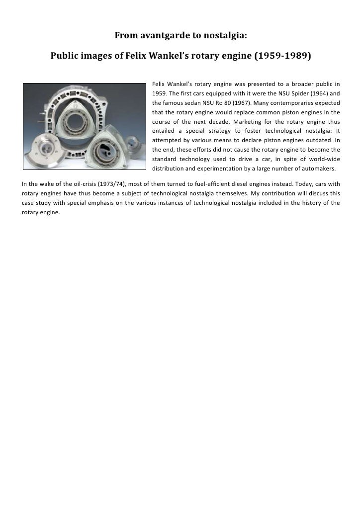 From avantgarde to nostalgia:            Public images of Felix Wankel's rotary engine (1959-1989)                        ...