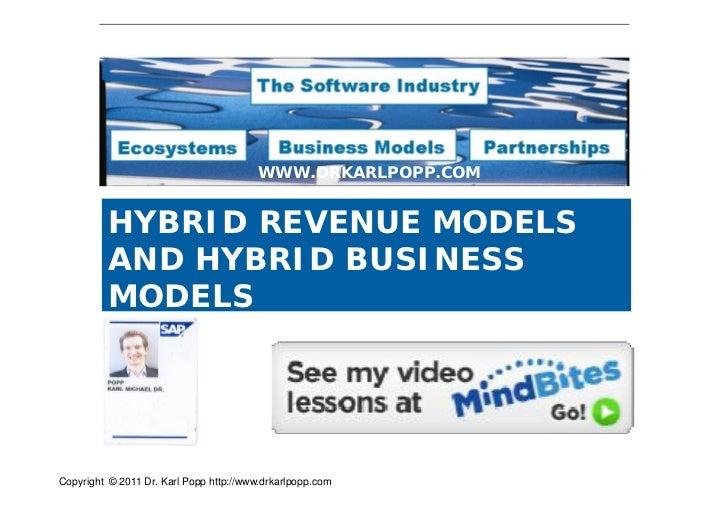 WWW.DRKARLPOPP.COM          HYBRID REVENUE MODELS          AND HYBRID BUSINESS          MODELSCopyright © 2011 Dr. Karl Po...