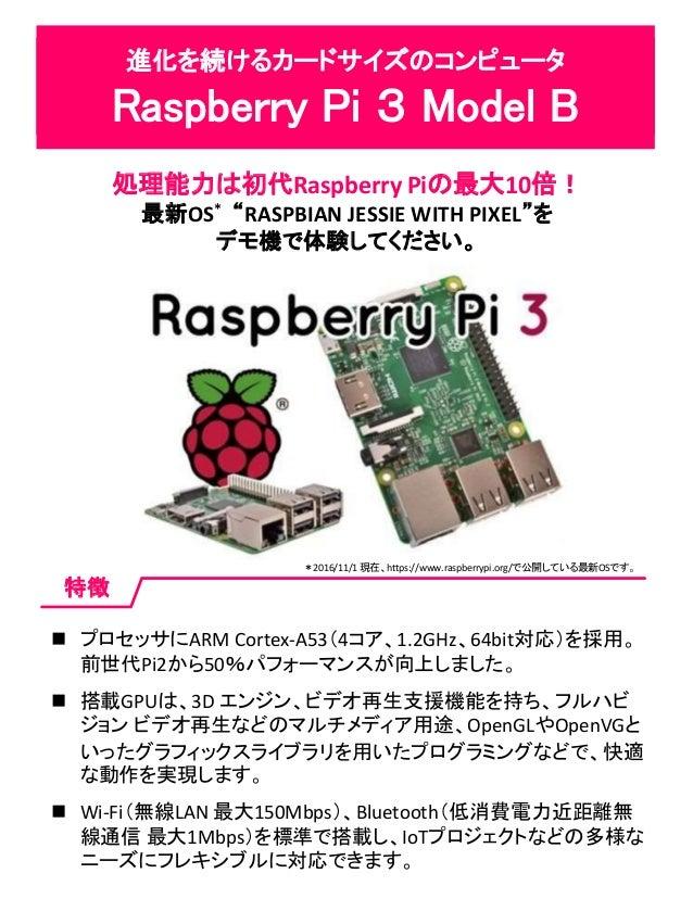 """進化を続けるカードサイズのコンピュータ Raspberry Pi 3 Model B 処理能力は初代Raspberry Piの最大10倍! 最新OS* """"RASPBIAN JESSIE WITH PIXEL""""を デモ機で体験してください。 特徴..."""