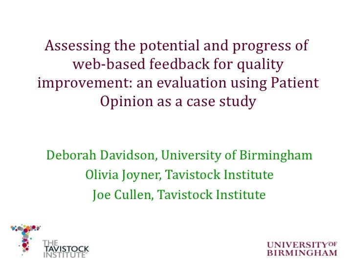 Assessing the potential and progress of  web-based feedback for quality improvement: an evaluation using Patient Opinion a...