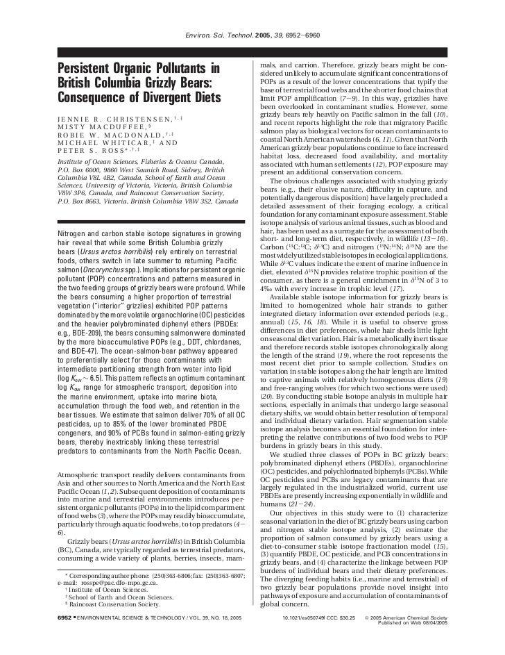 Environ. Sci. Technol. 2005, 39, 6952-6960                                                                        mals, an...