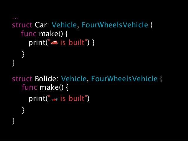"""… struct Car: Vehicle, FourWheelsVehicle { func make() { print(""""🚗 is built"""") } } } struct Bolide: Vehicle, FourWheelsVehic..."""